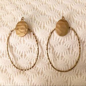 Hammered Gold Hoop Hook Earrings